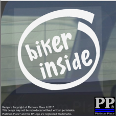 1 x Biker Inside-Window,Car,Van,Sticker,Sign,Vehicle,Adhesive,Motorbike,Wheel